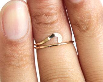 Gold Midi Ring Gold Wave Ring Adjustable Wave Ring Wave Knuckle Ring Above Knuckle Ring and Adjustable Midi Ring