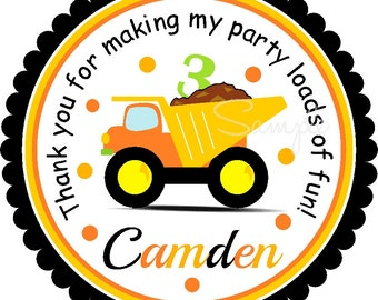 Dump Truck Stickers, Construction Birthday Party, Personalized Dump Truck Stickers or Gift Tags, Construction Birthday Party - set of 12
