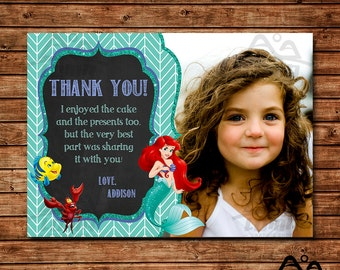 Ariel Birthday Thank You, Ariel Birthday, Disney Princess Thank You, Princess Birthday Thank You, The Little Mermaid