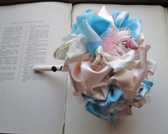 Vintage Fabric Flower Bouquet * Baby Shower Gift * Wedding Bouquet * Bridal Bouquet * Vintage Kids Fabric * Pastels * Pups Lambs and Kitties