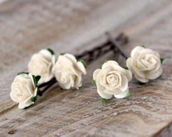 Ivory rose hair grips, Wedding Hair grips, Bridal Hair Accessories, Bridesmaid and Flower girl hair clips, rose hair pins
