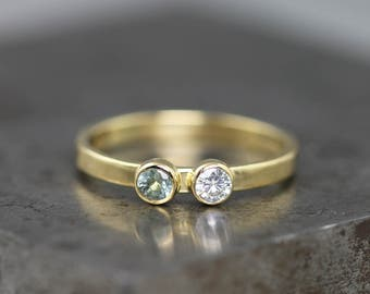 18k Yellow Gold Two Stone Ring with Teal Montana Sapphire and Moissanite - One of a Kind - Alternative Engagement, Mothers, Anniversary Ring