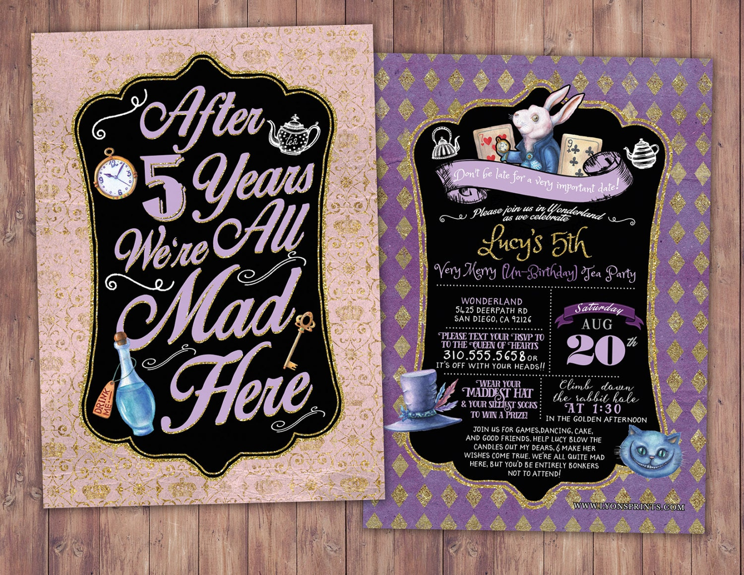 Mad Hatter Tea Party, Alice in Wonderland Invitation / anniversary ...