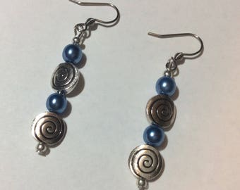 "Earrings ""Renaissance blue azure and spiral flames"""
