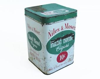 1950s Niles & Moser Cigar Tin, Tobacco Tin