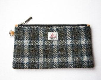 Harris Tweed Clutch, Tweed Clutch, Zip Clutch, Tweed Purse, Accessories Case