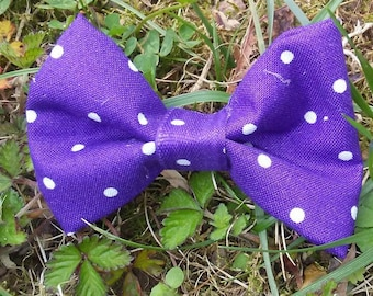 3 inch Purple Polka Dots Fabric Hairbow on alligator clip