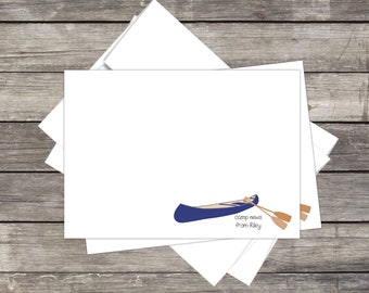 Summer Camp Stationery *NEW 2018* Canoe  (15ct) Flat 5x7 Notecards & Envelopes *PERSONALIZED for YOU*