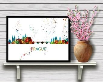 Prague Skyline, Czech Republic, Watercolor Printable Wall Art, European City, Travel Home Decoration, gift, Instant Download (04)