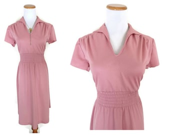 Blush Pink Dress 70s Midi Light Pink Pastel Dress 1970s Size Medium M Secretary Indie Hipster Boho Dolly