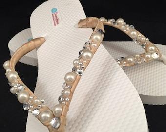 Wilomena Bridal Flip Flops, Custom Flip Flops, Gem Pearl  Dancing Shoes, Bling Bridal Sandals, Pearl Wedding Flip Flops, Beach Wedding Shoes