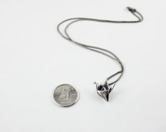Small Silver Origami Crane Necklace, Recycled Silver Jewelry,Eco-Friendly Necklace, Up-cycled Jewelry, Antique Patina Italian Sterling Chain