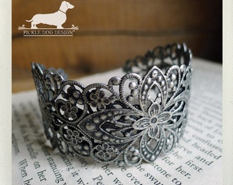 Laced. Silver Cuff Bracelet -- (Vintage-Style, Victorian, Rustic, Romantic, Elegant, Simple, Lace, Wedding, Delicate, Cute, Gift Under 20)
