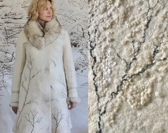 Women White felted wool winter coat, boiled wool, art to wear, OOAK coat, White Christmas