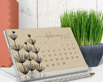 2018 calendar - 2018 desk calendar - black ink on kraft - botanical art illustrations - cd calendar - free shipping to U.S.