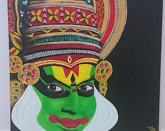 Kathakali Painting/ Indian traditional art/ Acrylic on Canvas 20x24""