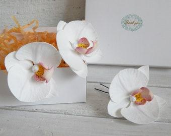 Hawaii flower hair piece White orchid flower hair pin Tropical flower hair clip Orchid hair comb Bridal headpiece Beach wedding accessory