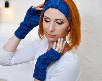 Warm headband Blue gift for wife gift Winter accessories headbands Winter turban Blue knit headband Knitted headband Knitted ear warmer