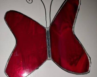 Vintage Red Glass Butterfly Suncatcher