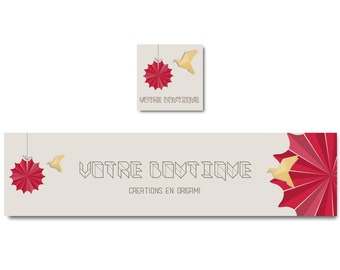 Origami banner to personalize your shop, etsy banner folding paper banner