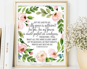 Christian wall art, 2 Corinthians 12:9, nursery decor, printable wall art, scripture print, bible verse print, inspirational quote 6-23