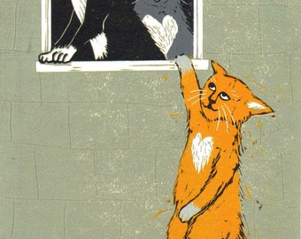 "Greetings Card: ""Cat Lovers"", for those who love Banksy and love cats! By Laura Robertson"