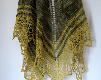 Silk and Wool Knitted Lace Shawl in the Colors of Moss, Moss Green and Gold