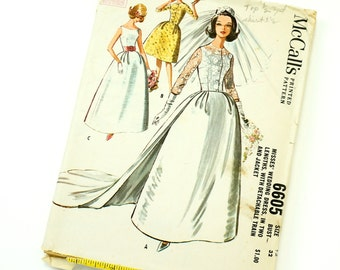 Vintage 1960s Womens Size 12 Wedding Dress Two Lengths Train Jacket Cocktail Dress McCalls Sewing Pattern 6605 Complete / b32 w25