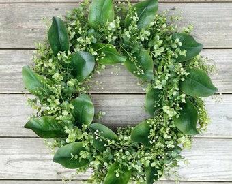Boxwood Magnolia Wreath, Rustic Wreath, Front Door Wreath, Fall Wreath, Year Round Wreath, Summer Wreath, Housewarming,  Magnolia leaves