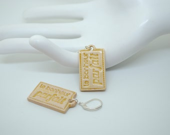 """""""Stud Earrings ceramic message ' perfect happiness"""" honey"""