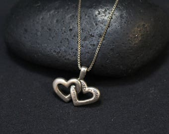 Sterling Silver Double Heart Necklace, Sterling Heart Necklace, Sterling Heart Jewelry, Silver Heart Necklace, Two Heart Pendant