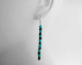 Long Earrings, Silver, Lever-backs, Summer Jewelry, Nickel free Earrings, Pierced Earrings, Animal Rescue, USA, Turquoise, Beads, Light