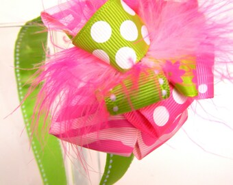 Headbands with Loop Style Bow-Pink and Green