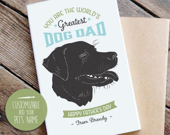 Father's Day Card from Dog, Cool Vintage Style, Labrador Father's Day Card, Dog Dad Father's Day Card, Dog, Greeting Card