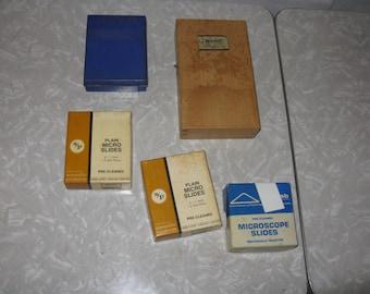 Lot of vintage microscope slides