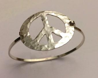 Open Peace Sign Symbol Hammered Silver Bracelet-Tension Bracelet - Artisan made by SurfingSilver