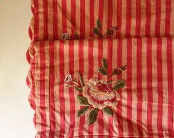 Pair of Red Striped Pillow Shams with Rose Appliques