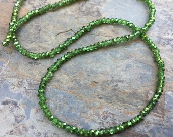Chinese Crystals, Green Crystal Beads, Faceted Spacer Beads, 12 inch strand, 2mm