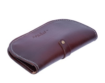 genuine brown leather wallet for women - designer handmade leather wallet - women wallet