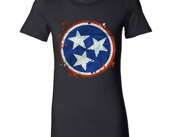 Tennessee State Vintage Grunge Flag U.S Bella Shirt