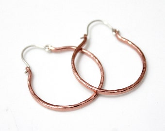 Rustic Hoop Earrings, Hammered Copper Rustic Jewelry, Hoops Earrings, Hammered Copper Hoop Earrings, Hammered Earrings, Hoop Earrings