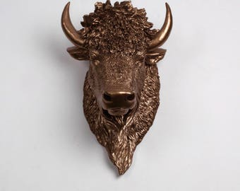 White Faux Taxidermy - The Scarlett - Bronze Resin Bison Head- Buffalo Resin White Faux Taxidermy- Chic & Trendy