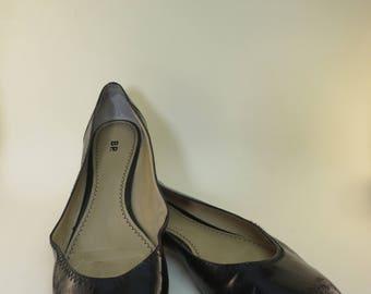 Size 12 Black Patent Ballet Flat Basic Black Shoes Retro Mod Flats