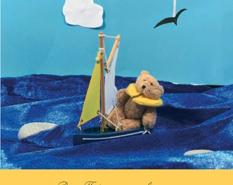 Greetings card featuring Busy Ted - sailing on the sea! 148mm square card - birthday,good luck,thankyou,congratulations