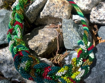 Beaded crochet long necklace lariat Forest jewelry beautiful. Mother's day gift