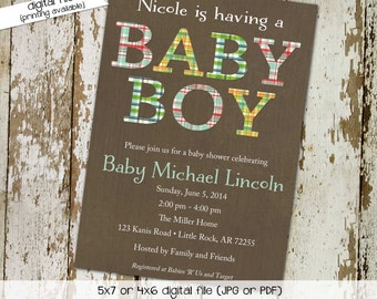plaid baby boy shower invitation couples coed gender neutral reveal sprinkle sip see baptism birthday twins diaper wipes gay | 1205 Katiedid