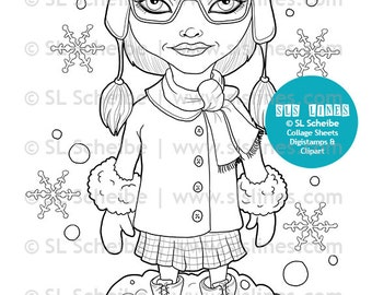 Hipster girl digital stamp winter theme digistamp, snowy hipster stamp coloring page by SLS lines