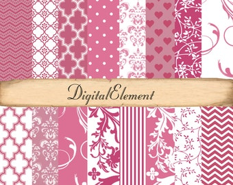 Commercial Use: Digital Paper,Scrapbook Paper, Pink Shabby Chic, Pink and White Swirls, Pink Floral Scrapbook Paper, Pink Quarterfoil Paper.