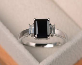 Anniversary ring, natural black spinel ring, emerald cut black gemstone, sterling silver ring,three stones ring