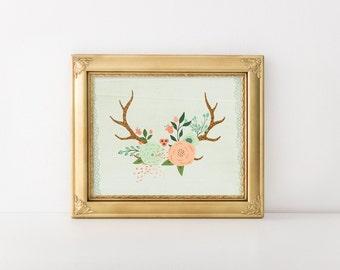 Antler Print, 8x10 Printable, Floral Antler Art Print, Mint Green, Gold Glitter Deer Antler Wall Art, Instant Download, Floral Antler Print